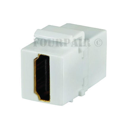 5 Pack Lot HDMI Keystone Wall Plate Snap-In Jack Insert Coupler Female - White (Hdmi Wall Plate Insert)