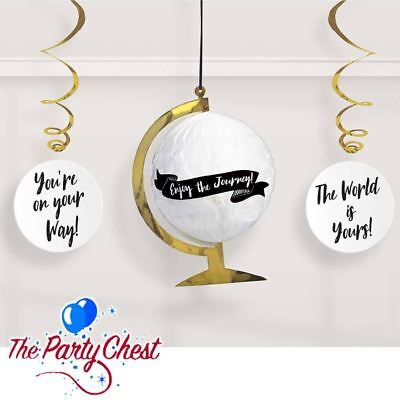 College Party Decorations (GRADUATION HONEYCOMB GLOBE AND SWIRLS Uni College Grad Hanging Party)