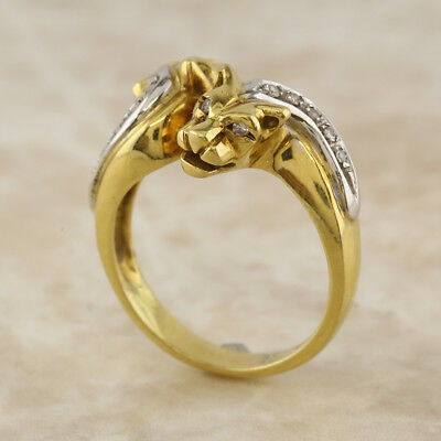 Panther 18ct Yellow Gold Multi Diamond (0.10ct) Ring Size O 1/2