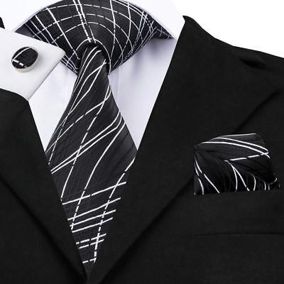 White Black Stripe Silk Necktie (USA Black White Striped Necktie Mens Silk Tie Set Formal Casual)