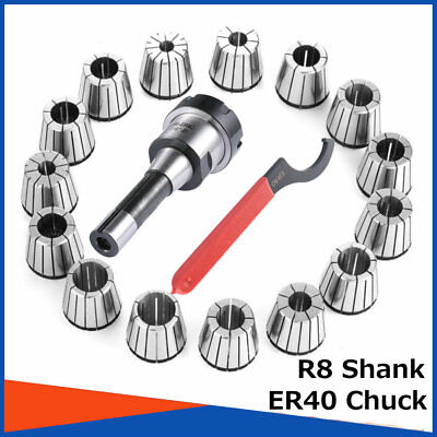 Er40 Collet Chuck R8 Shank With 15 Pc Collets Set For Cnc Milling Lathe Tool
