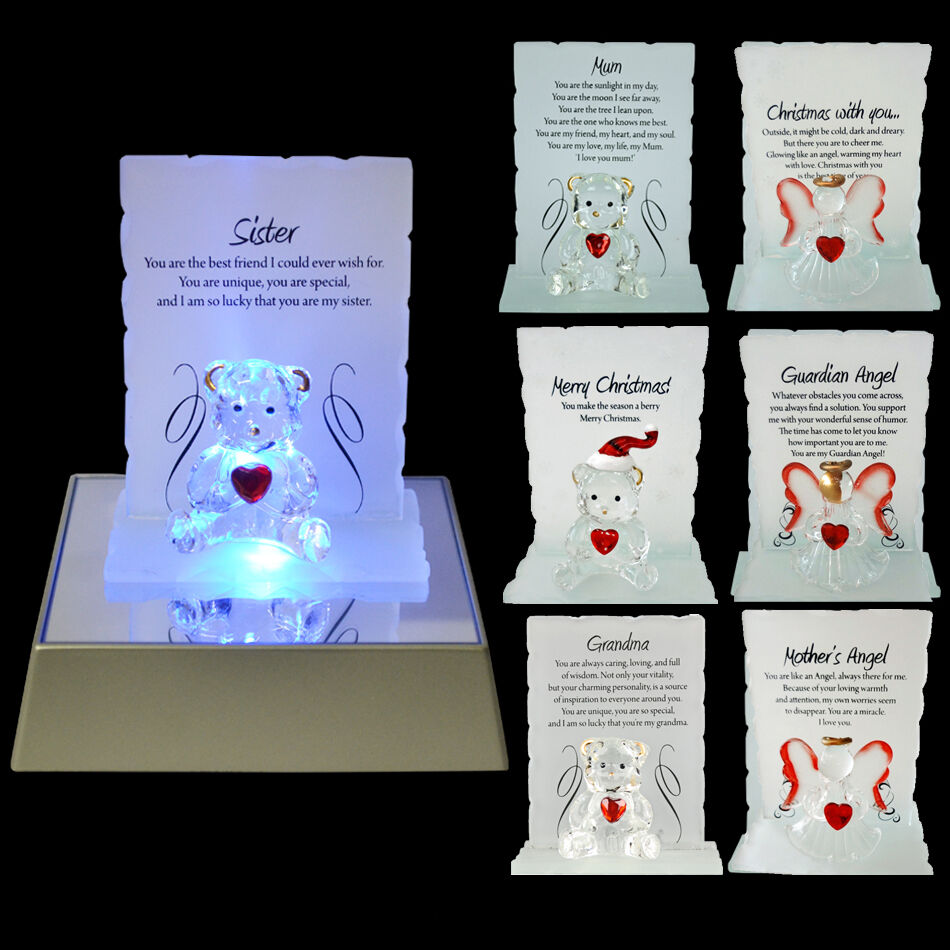 NEW GLASS CRYSTAL ORNAMENTS BEAR GIFT SET POEM POETIC WRITING MESSAGE ANGEL XMAS