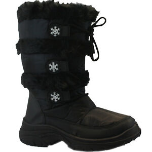 LADIES WOMENS SNOW MOON BOOTS WATERPROOF THERMAL WELLINGTONS FUR SKI WINTER RAIN