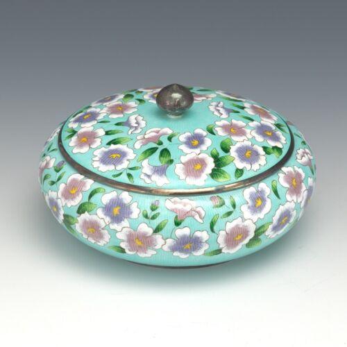 Korean Pure 999 Silver and Cloisonné Enamel Chilbo Floral Presentation Box