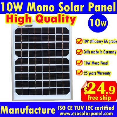 10w Solar Panels power system 18V output to charge 12v battery used Mono solar