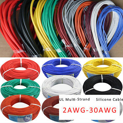 30awg-2awg Chose Colors Ul Strand Silicone Soft Cable 600v 200 0.08mm Rc Wire