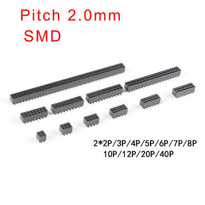 Pitch 2.0mm Double Row Female Smd Pin Header Socket 2x2p3456781012p-40p