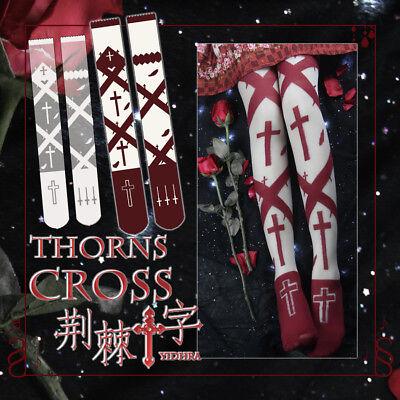 Gothic Vintage Mori Girl Lolita Print Princess Stockings Pantyhose Tights - Gothic Girl