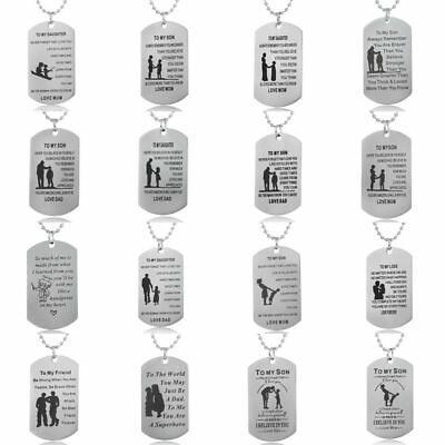 Dog Tag Mother Father Daughter Son Teacher Necklace Best Friend Gifts Family