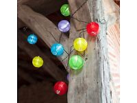 Solar Chinese Lanterns - Multi Coloured LED Solar Chinese Lantern Garden Outdoor Fairy String Lights