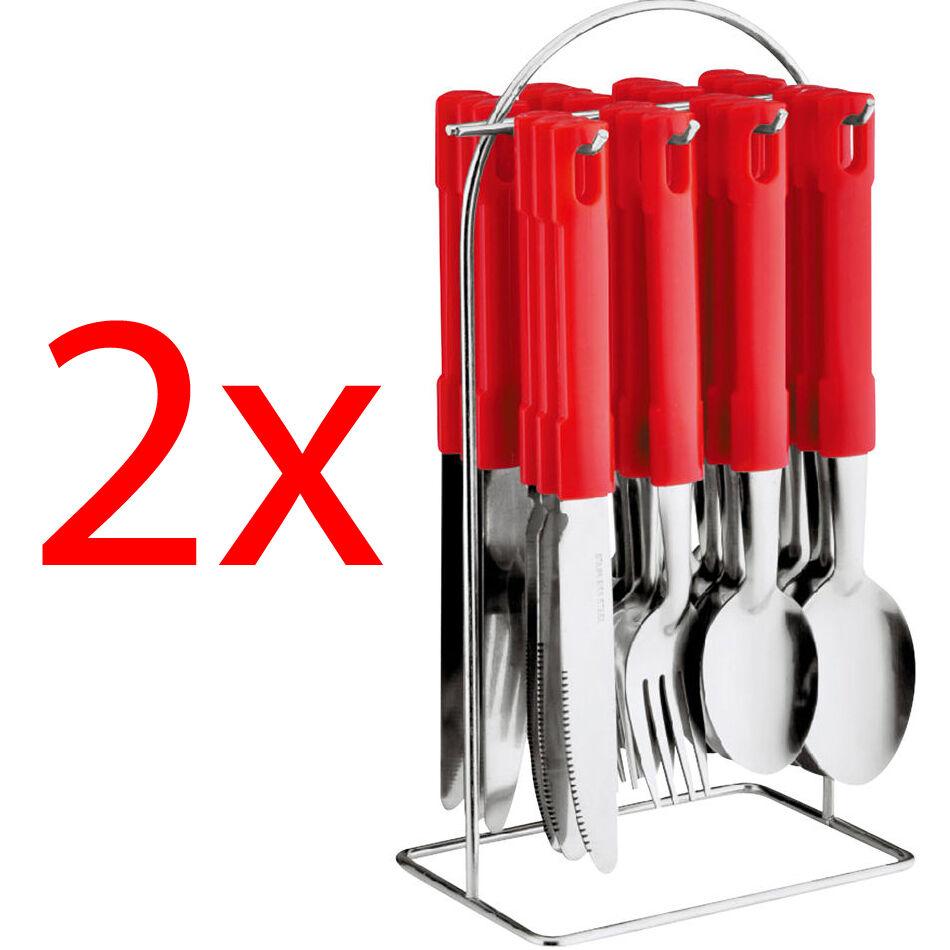 Nouveau 24PC Couverts Dîner Set Métalliques En Acier Inoxydable stand rack fourchettes cuillères à café