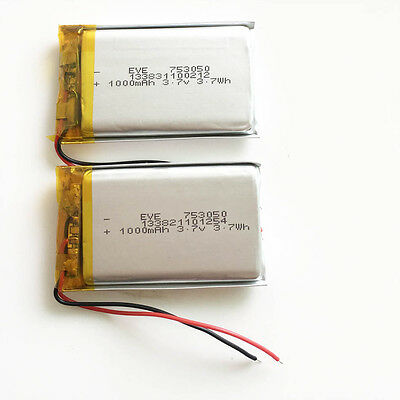 2 pcs 3.7V 1000mAh 753050 Lipo Polymer Rechargeable Battery For MID DVD mobile