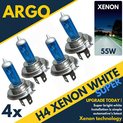 4 X H4 472 Xenon Super White 55w Dipped Low Beam Headlight Headlamp Light Bulbs