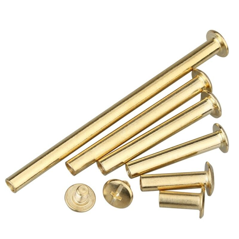 5mm Brass Plated Chicago Screw Posts Binding Screws Binder Posts Leather Rivets
