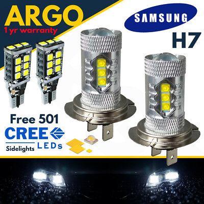 H7 Cree 8500k Xenon White Effect Headlight Lamps Light 100w Bulbs 501 15 Led 12v