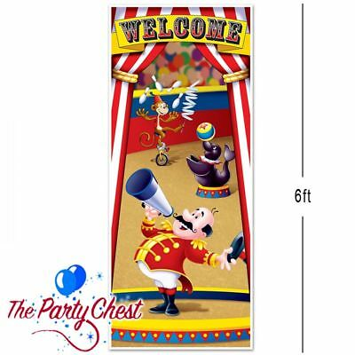 6FT CIRCUS TENT DOOR COVER Big Top Circus Party WELCOME Door Decoration 52189 - Circus Door Decorations