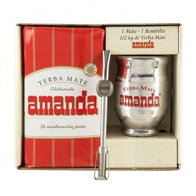 Yerba Mate Kits (Kit Aluminio Yerba Mate Set AMANDA Becher+Bombilla)