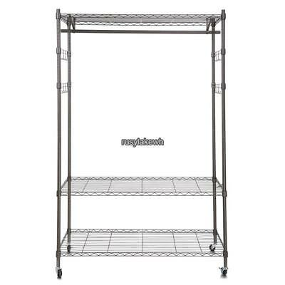 4-wheel Wire Shelving Clothes Garment Rack Rolling Shelf Tidy Hanging Heavy Duty