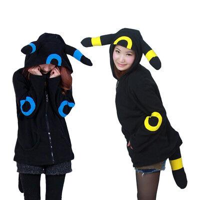 Monster Hood Costume (Pokemon Pokect Monster Umbreon Fleece Hood Hoodie Costume Cosplay Zipper Coat )