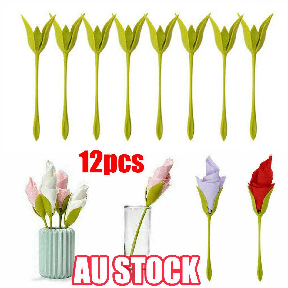 12pcs Bloom Napkin Holders Flowers Floral Green Design For Table