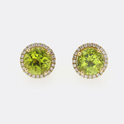 Kiki McDonough Grace Peridot and Diamond Stud Earrings 18ct Yellow Gold