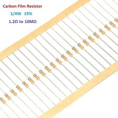 1000pcs Carbon Film Resistor 14w 0.25w - Full Range Of Values 1.2-10m