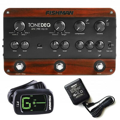 Fishman ToneDEQ AFX Acoustic Preamp/EQ/DI w/Power Supply FT2 Tuner