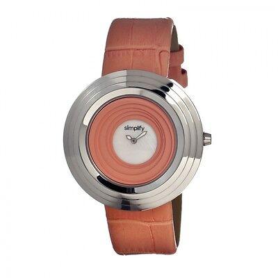NEW Simplify SIM1702 Womens The 1700 Salmon Leather Unique Round Fashion Watch