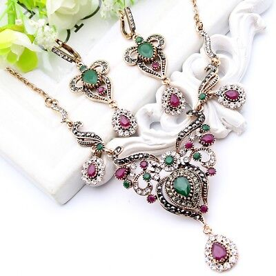 Vintage Style Turkish Necklace Earrings Jewelry Set Crystals Antique Gold