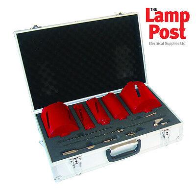 Diamond Core Bit-set (ARMEG 11 Piece Dry Diamond Core Drill Bit Set & Case Sizes 42, 52, 65, 117,127mm)