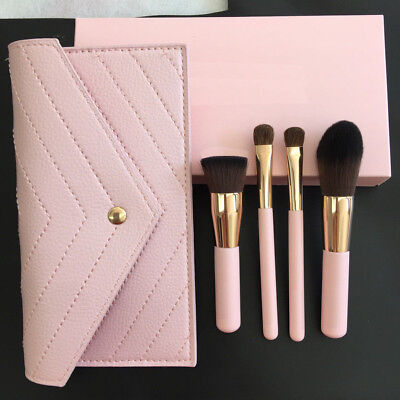New Luxie Rose Gold Synthetic 4 Piece Kabuki Brush Set + Cosmetic Bag ()