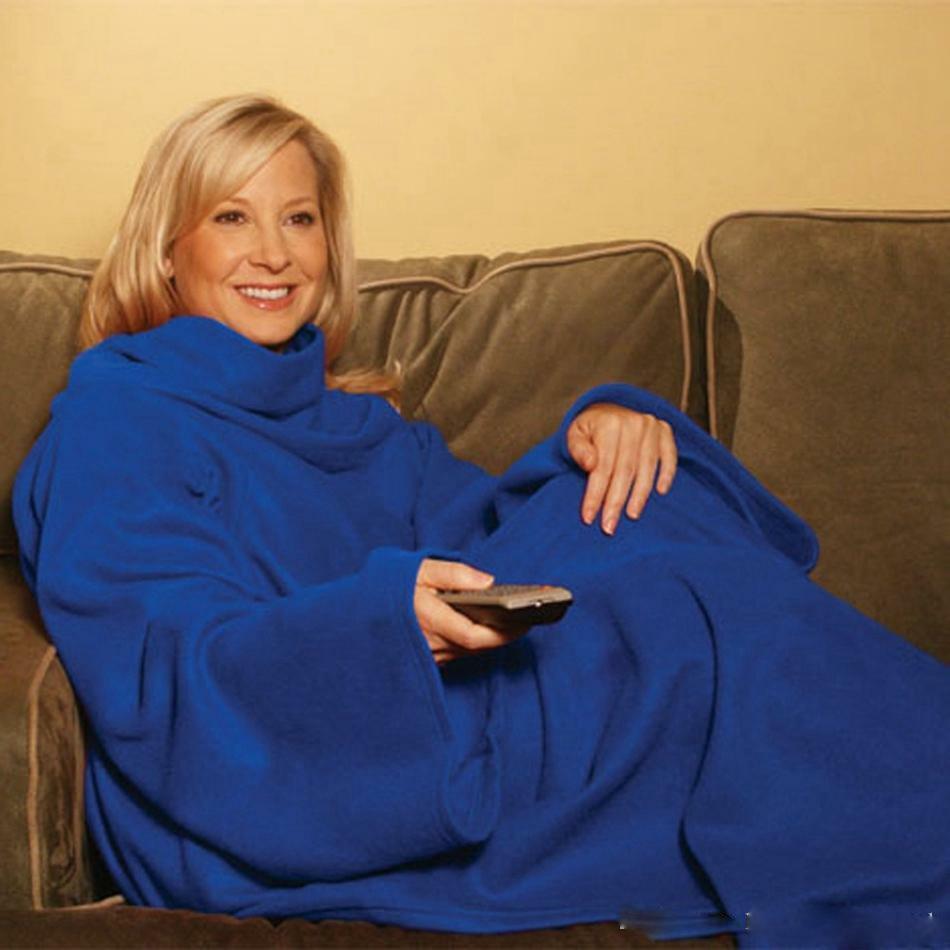 Snuggie Fleece Blanket Sleeves Soft Throw Blanket Home Winte