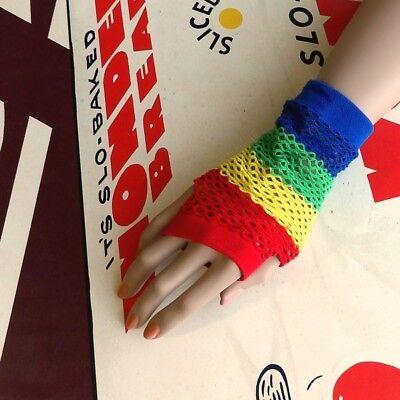80s Regenbogen Streifen Diamant Netz / Fischnetz Fingerlose Handschuhe/Stulpen