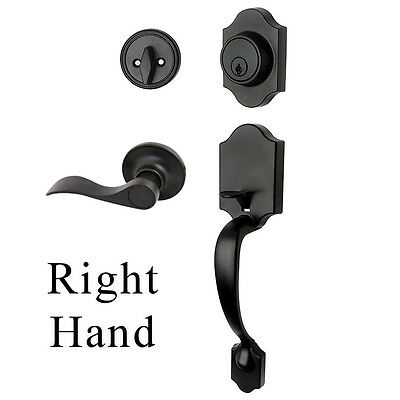 Valhala Matte Black Entry Handleset with Kingston RH Door Le