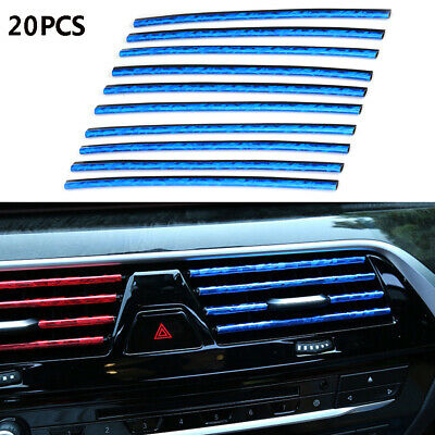20x Car Truck Accessories Air Conditioner Outlet Vent Decoration Strip Ice Blue
