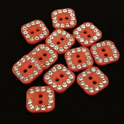 Buttons Square Red and Silver Glitter Sparkle Crafts Dance Costume B113-R ()