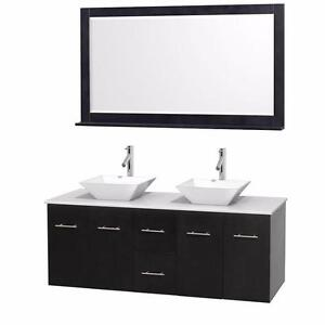 "60"" Black Wall Mounted Bathroom Vanity- Complete Set"