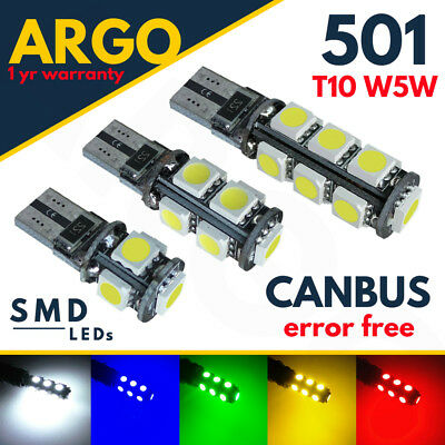 Car Parts - 501 T10 Led White Xenon Bulbs W5w Car Side Light Canbus Error Free Wedge Hid 12v