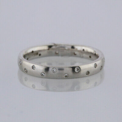 Invisible Set Diamond Band Ring 18ct White Gold Size L