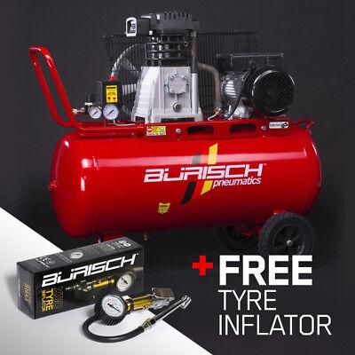 Burisch Air Compressor 3HP 90L Belt Drive 14.1CFM Twin Cylinder + Tyre inflator