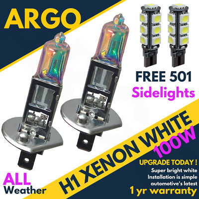 H1 100w 8500k Xenon Hid Ultra Super White Effect Look Head Lamps Light Bulbs 501