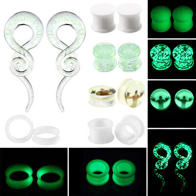 Pair of Glow in the Dark Flesh Tunnel Plugs Acrylic Silicone Glass Ear Gauges - Glow In The Dark Ears