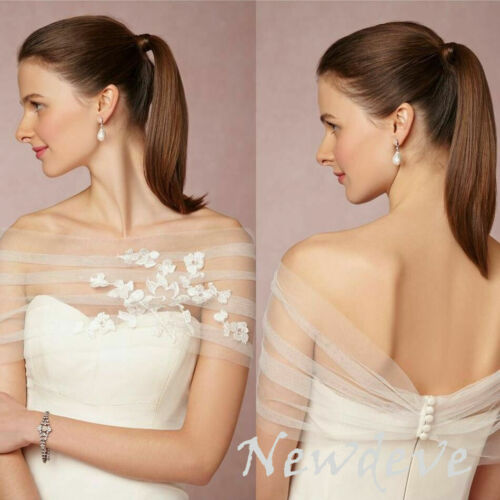 Bridal Boleros Tulle Bateau Lace Top Wedding Jackets White Wraps Flowers Shrug