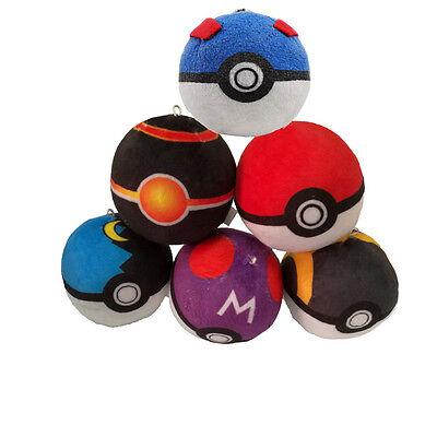 6PCS Pokemon pikachu Pokeball Cosplay Master poke BALL Plush Toy Pendant 8CM NEW