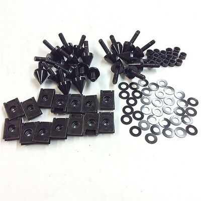 Spike Fairing Bolts Kit For 00-01 Yamaha YZF-R1 (Black Spike Fairing Bolts)