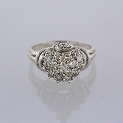 0.95 Carat Diamond Cluster Ring 18ct White Gold Size M