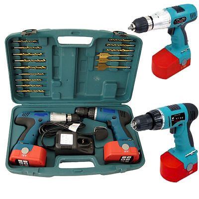 HEAVY DUTY 2X 18V CORDLESS HAMMER DRILL DRIVER SCREWDRIVER & 2 BATTERIES IN CASE