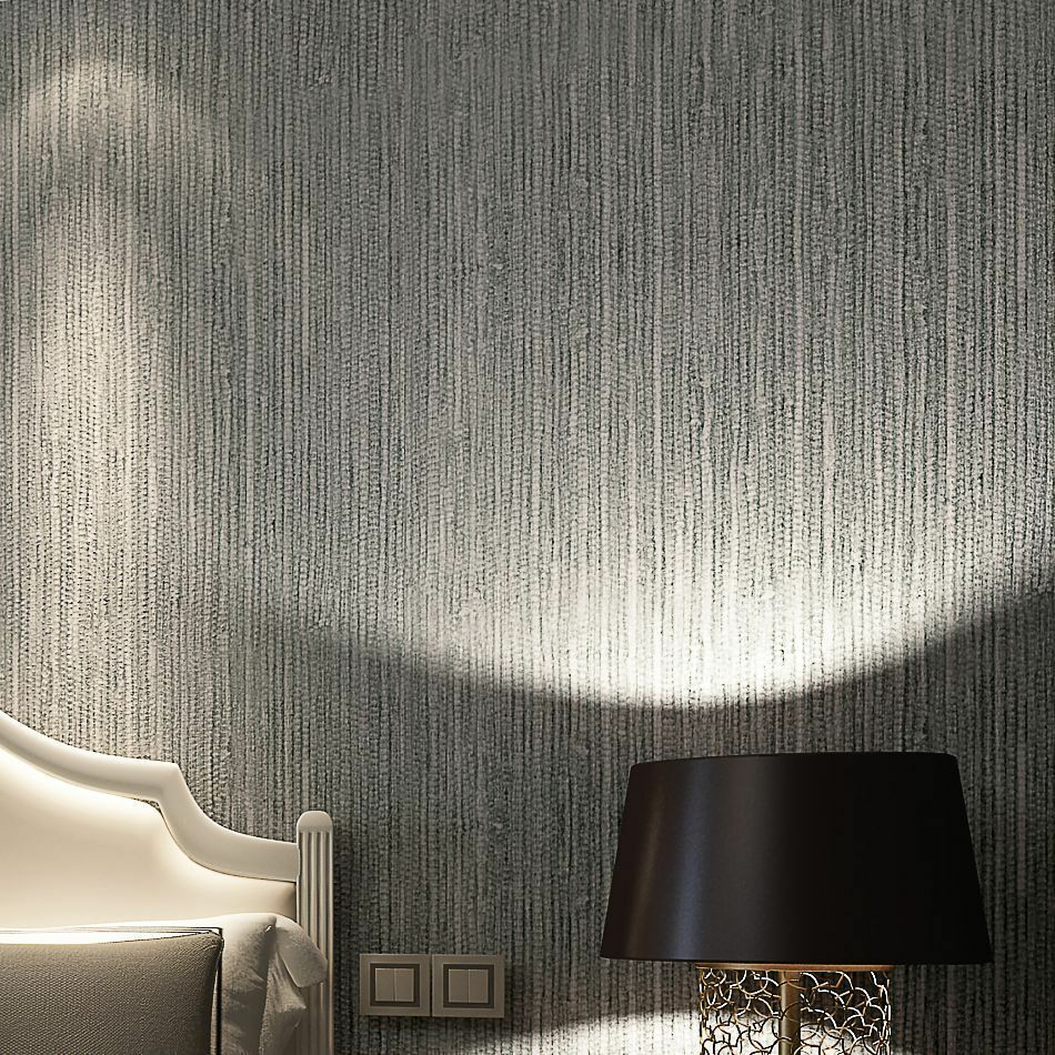 Modern vinyl metallic faux grasscloth wallpaper silver for Vinyl wallpaper for walls