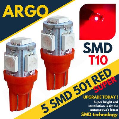 2X T10 LED Xenon Atrás Bombilla Rojo 6500K Hid W16W 921 5050...