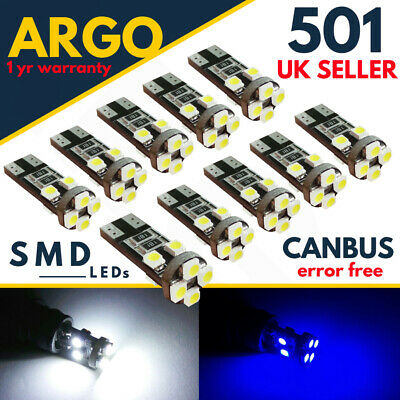 Car Parts - 501 T10 W5W CAR LED SIDE LIGHT BULBS XENON HID WHITE 8 SMD CANBUS ERROR FREE 12V